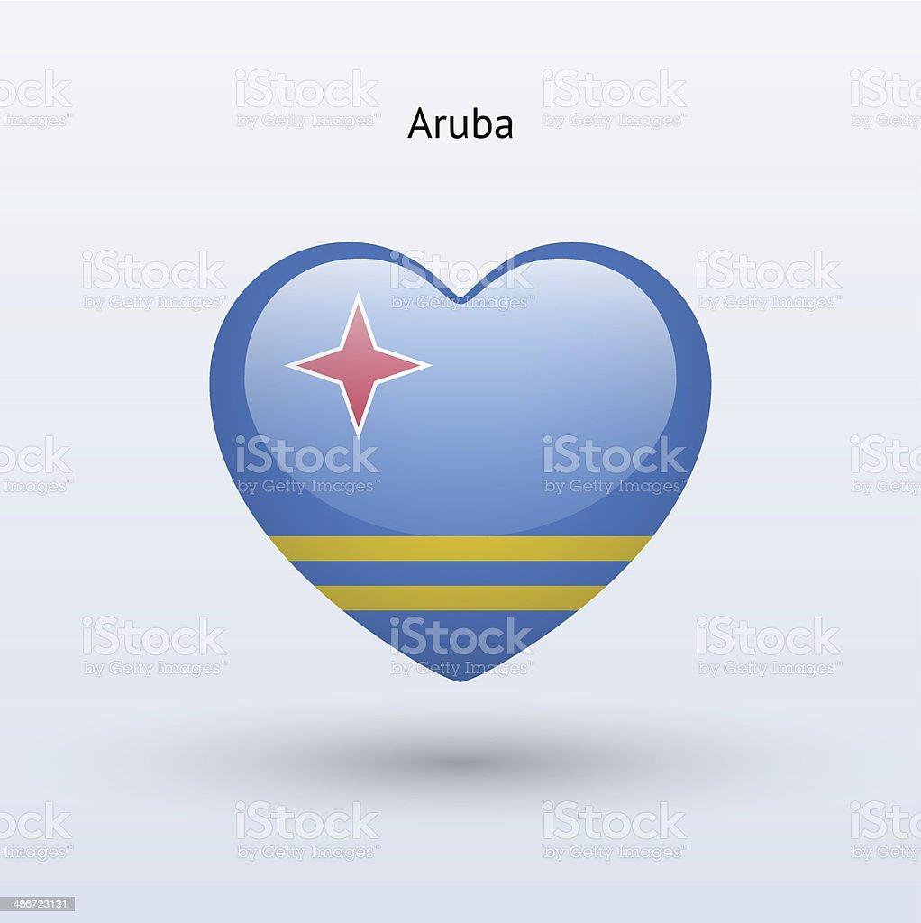 Love Aruba symbol. Heart flag icon. vector art illustration