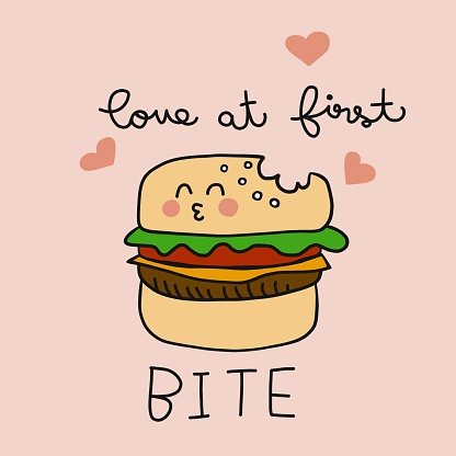 Love at first bite cute burger cartoon vector illustration doodle style