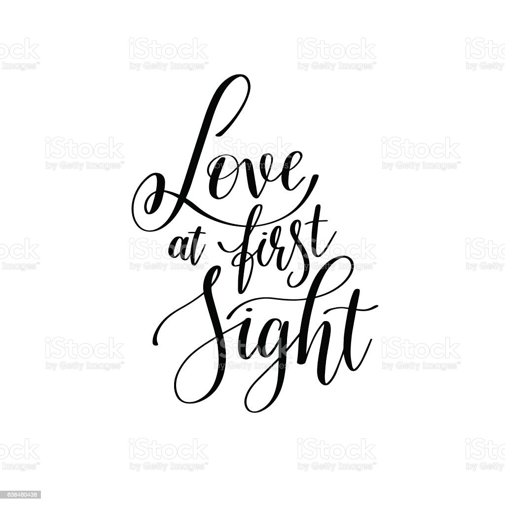 Love At First Sight Black And White Hand Written Lettering