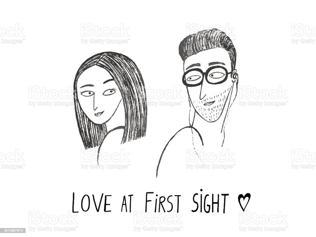 Love At First Sight Boy And Girl Looking At Each Other Hand Drawn