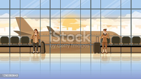 istock Love at first sight concept of LGBT between females. Using smartphone at  international airport terminal. Waiting for flight at the early morning sunrise. Romantic scene with plane runway background. 1290383643