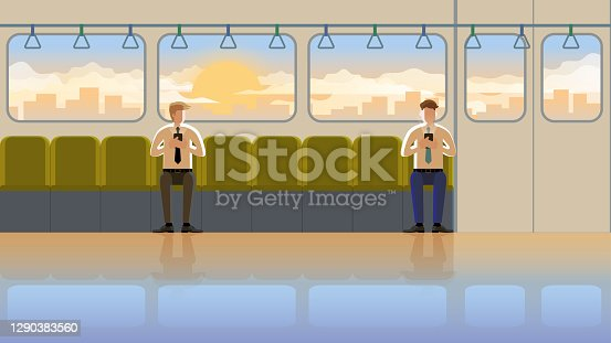 istock Love at first sight concept of LGBT between males in train public transportation at the early morning sunrise. Daily routine city lifestyle of employee people in town. The orange light romantic scene. 1290383560