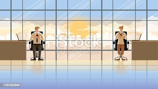 istock Love at first sight eye contact of office people working in the early morning sunrise. Man and woman using smartphone and laptop sitting at desk working room. City lifestyle of work hard over time. 1290383665