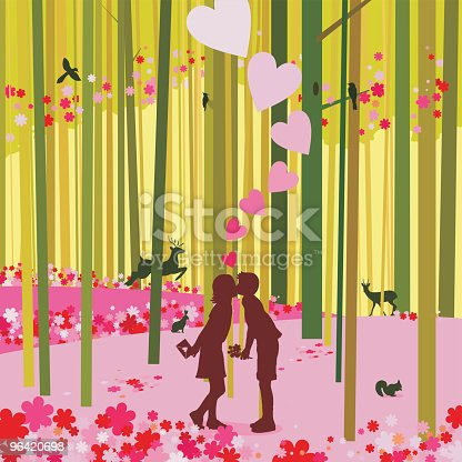 istock Love at the spring forest and first kiss 96420698