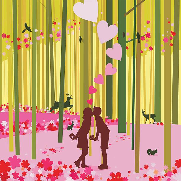 사랑입니다 유클리드의 연두빛 임산 첫 키스를 해보세요 - kiss stock illustrations