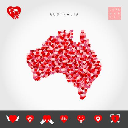 I Love Australia. Red Hearts Pattern Vector Map of Australia. Love Icon Set