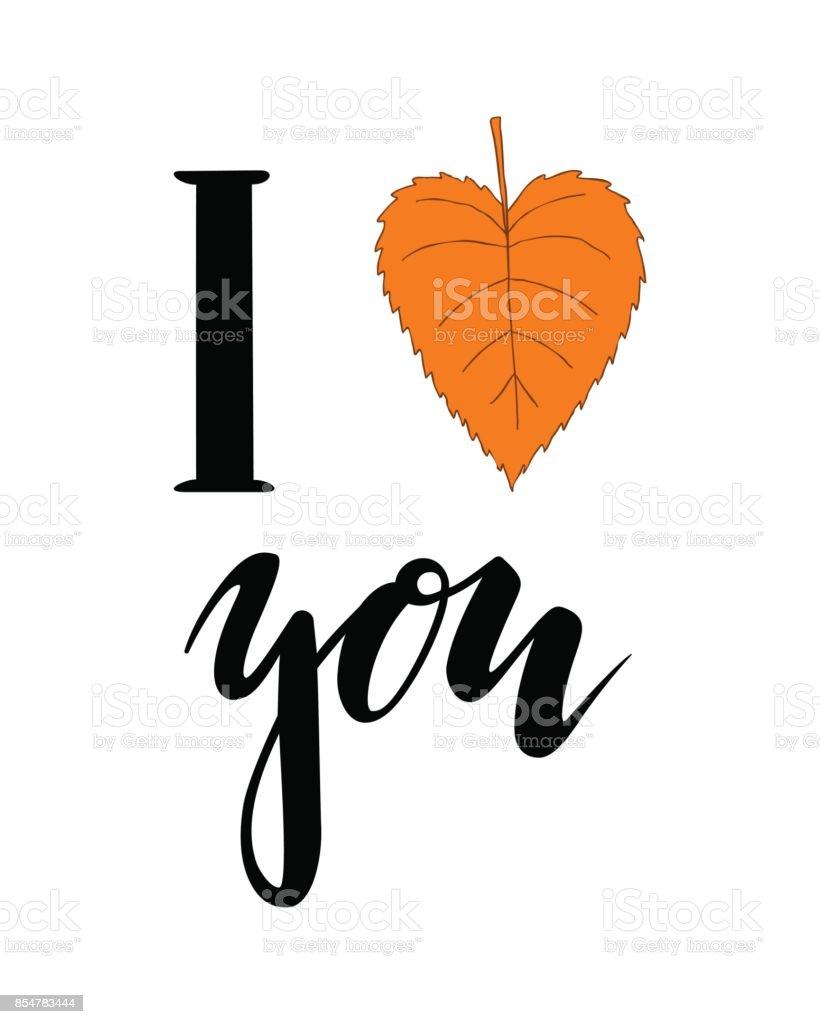 Me encanta el otoño. Corazón te. Mano dibuja Letras de caligrafía y cepillo de pluma. diseño de tarjeta de felicitación del día de fiesta y la invitación de temporada vacaciones de otoño. - ilustración de arte vectorial