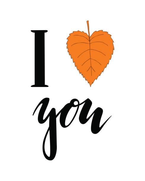 ilustraciones, imágenes clip art, dibujos animados e iconos de stock de me encanta el otoño. corazón te. mano dibuja letras de caligrafía y cepillo de pluma. diseño de tarjeta de felicitación del día de fiesta y la invitación de temporada vacaciones de otoño. - tipos de letra de tatuajes