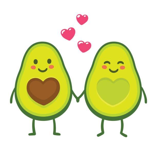Love avocado couple Cute cartoon avocado couple holding hands, Valentine's day greeting card. Avocado love with hearts vector illustration. avocado stock illustrations