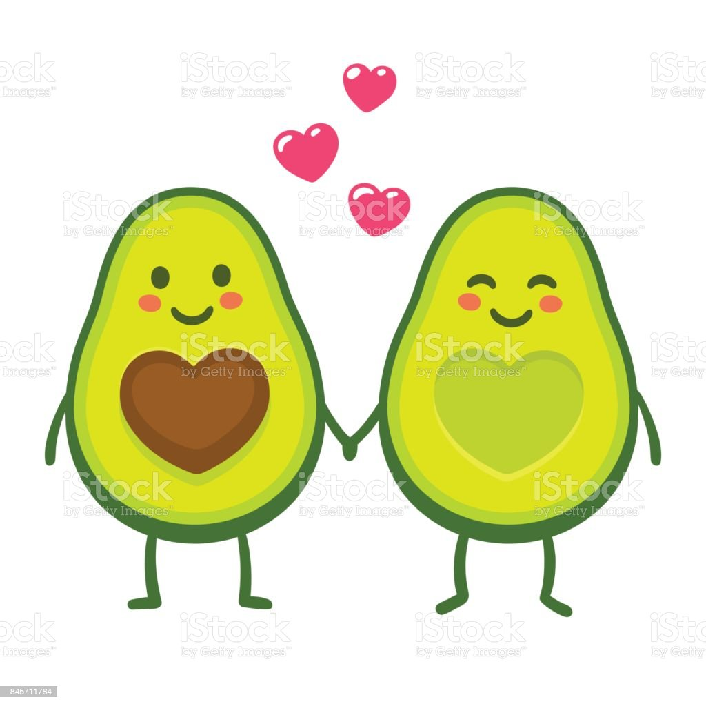Love avocado couple vector art illustration