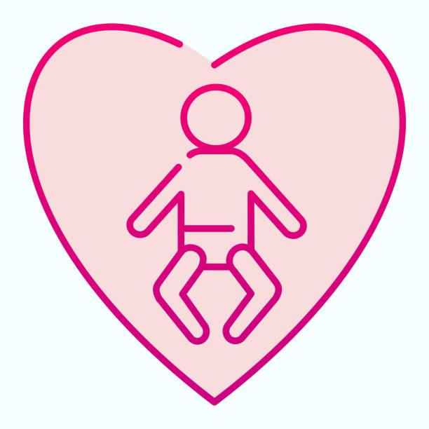 赤ちゃんのフラットアイコンを愛する。白で分離されたハートベクトルイラストの子供。新生児の安全勾配様式の設計、ウェブおよびアプリのために設計されている。 - シングルマザー点のイラスト素材/クリップアート素材/マンガ素材/アイコン素材