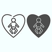 Love baby line and glyph icon. Child in heart vector illustration isolated on white. Newborn safety outline style design, designed for web and app. Eps 10