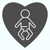 Love baby solid icon. Child in heart vector illustration isolated on white. Newborn safety glyph style design, designed for web and app. Eps 10