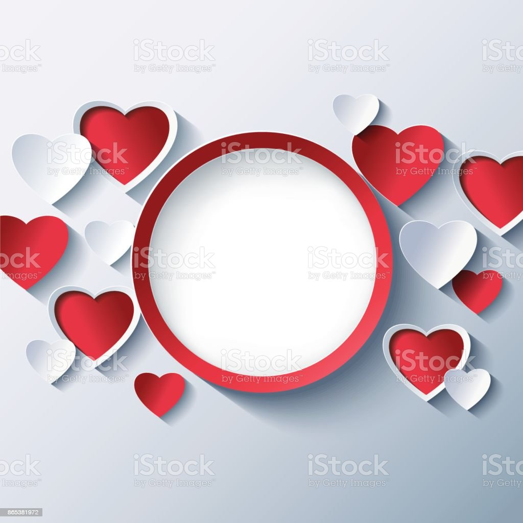 Love Background Valentines Day Frame With 3d Hearts Stock Vector Art ...