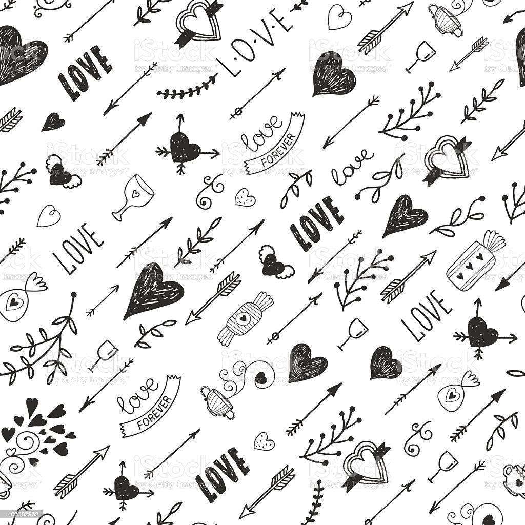 Amor elementos vintage fondo romántico con illustracion libre de derechos libre de derechos