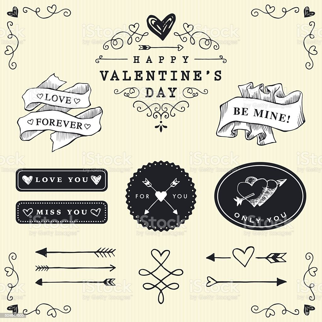 Love Badges and Labels vector art illustration