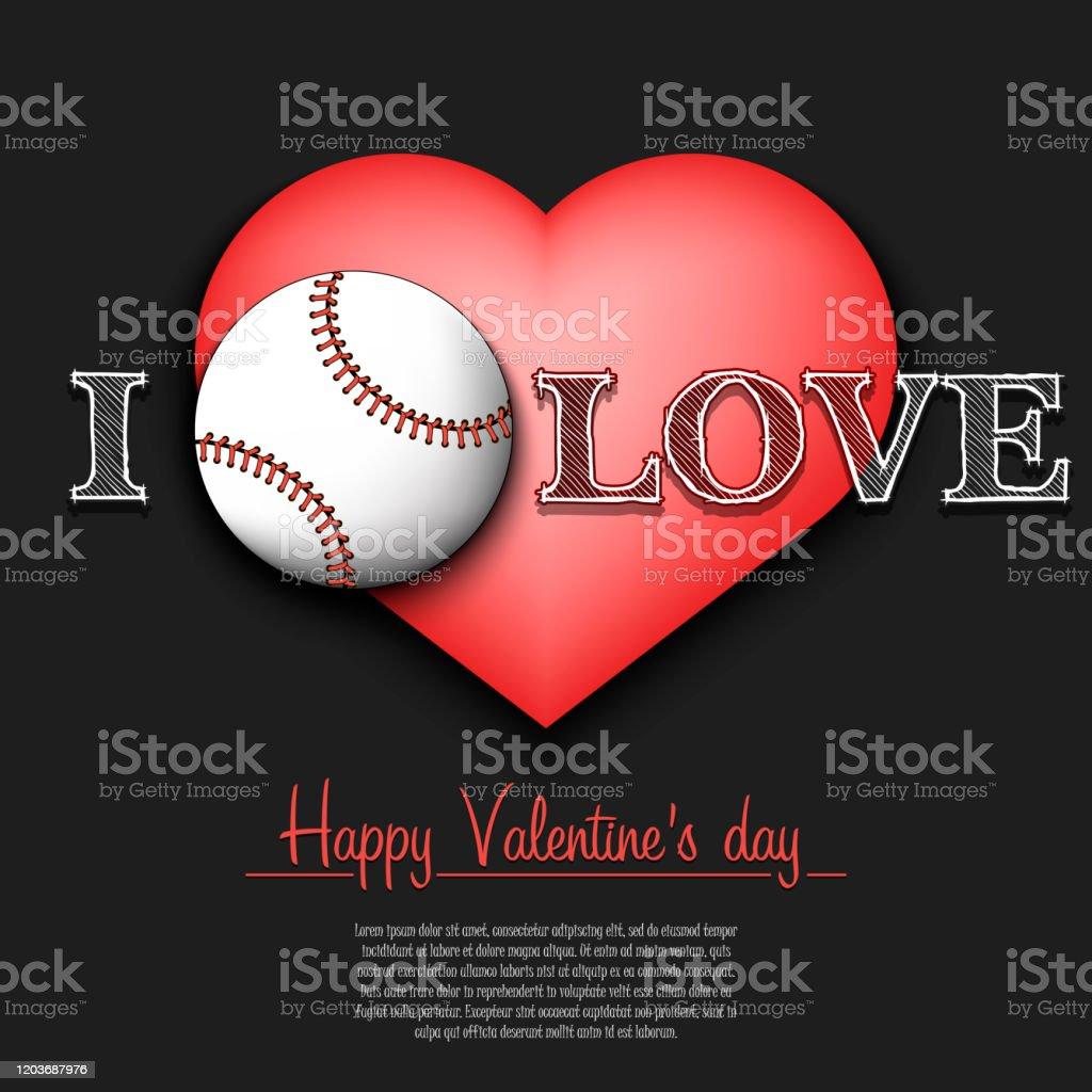 I Love Baseball Happy Valentines Day Stock Illustration Download Image Now Istock