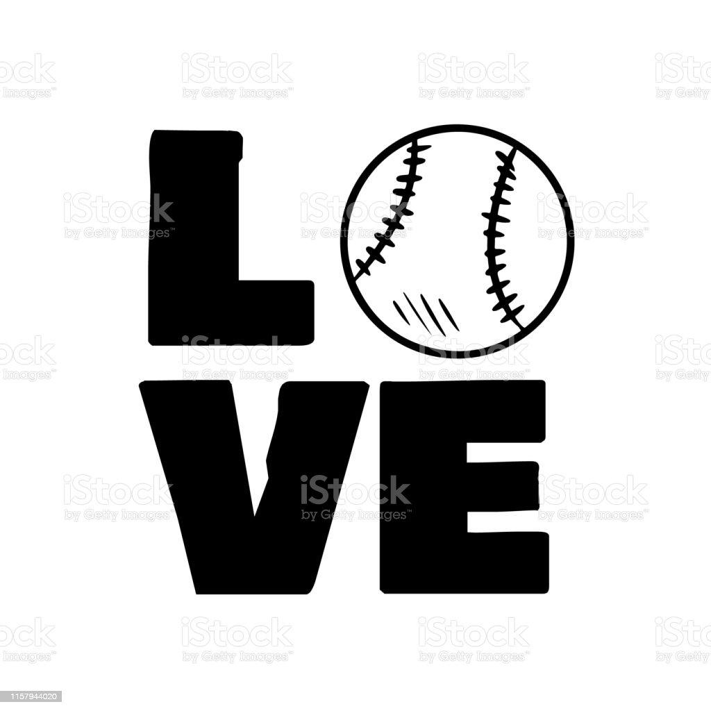 Love baseball sport design. Baseball ball and typography