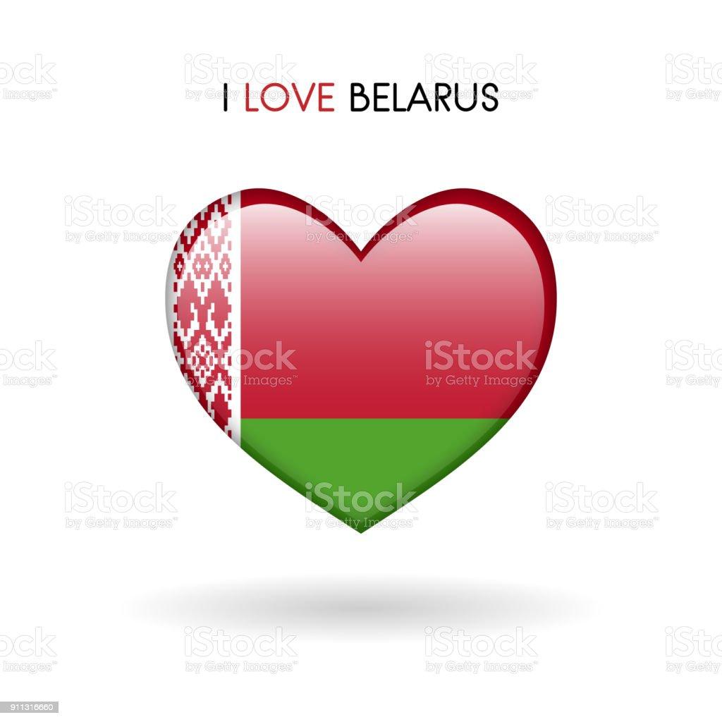 Love Belarus symbol. Flag Heart Glossy icon on a white background vector art illustration