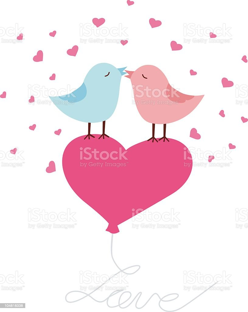 Love Birds Greeting Card Stock Vector Art More Images Of Animal