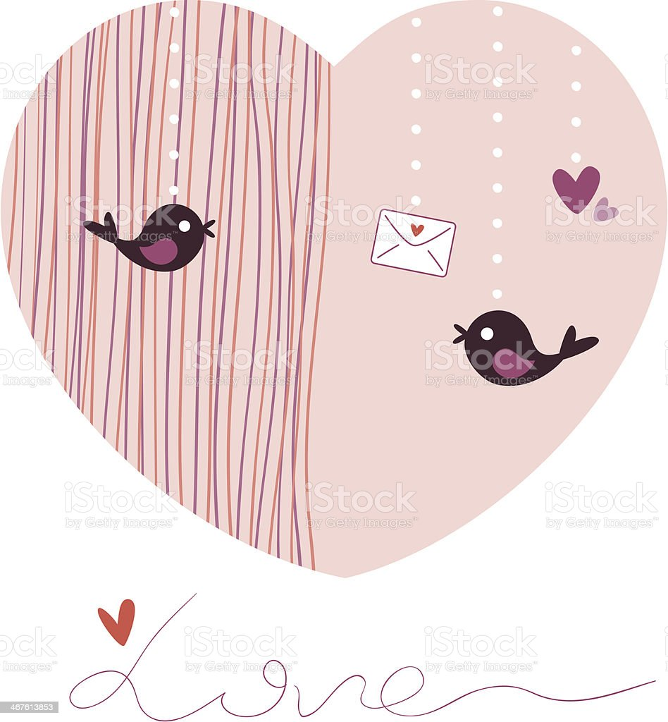 Love Birds Greeting Cards Stock Vector Art More Images Of Abstract