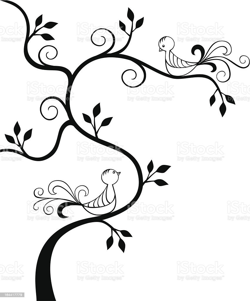 Love Birds In A Tree Stock Illustration Download Image Now Istock