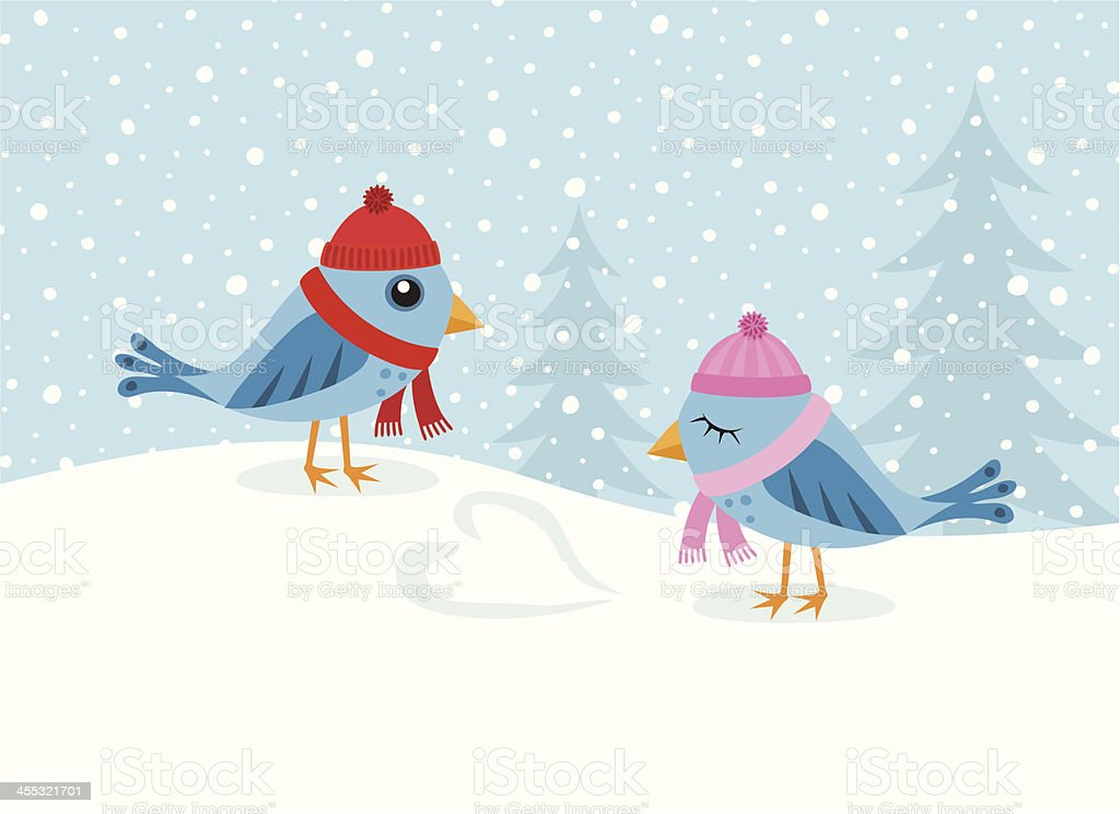 Love birds in the snow royalty-free stock vector art