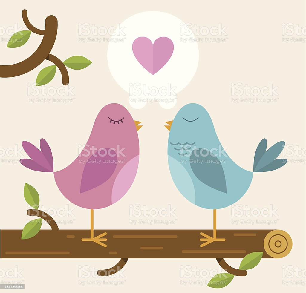 Love Birds on a branch vector art illustration