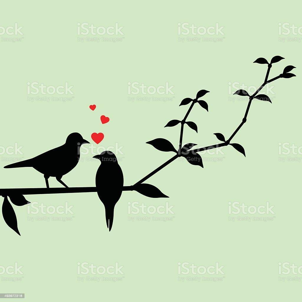 Love birds on a tree branch vector art illustration