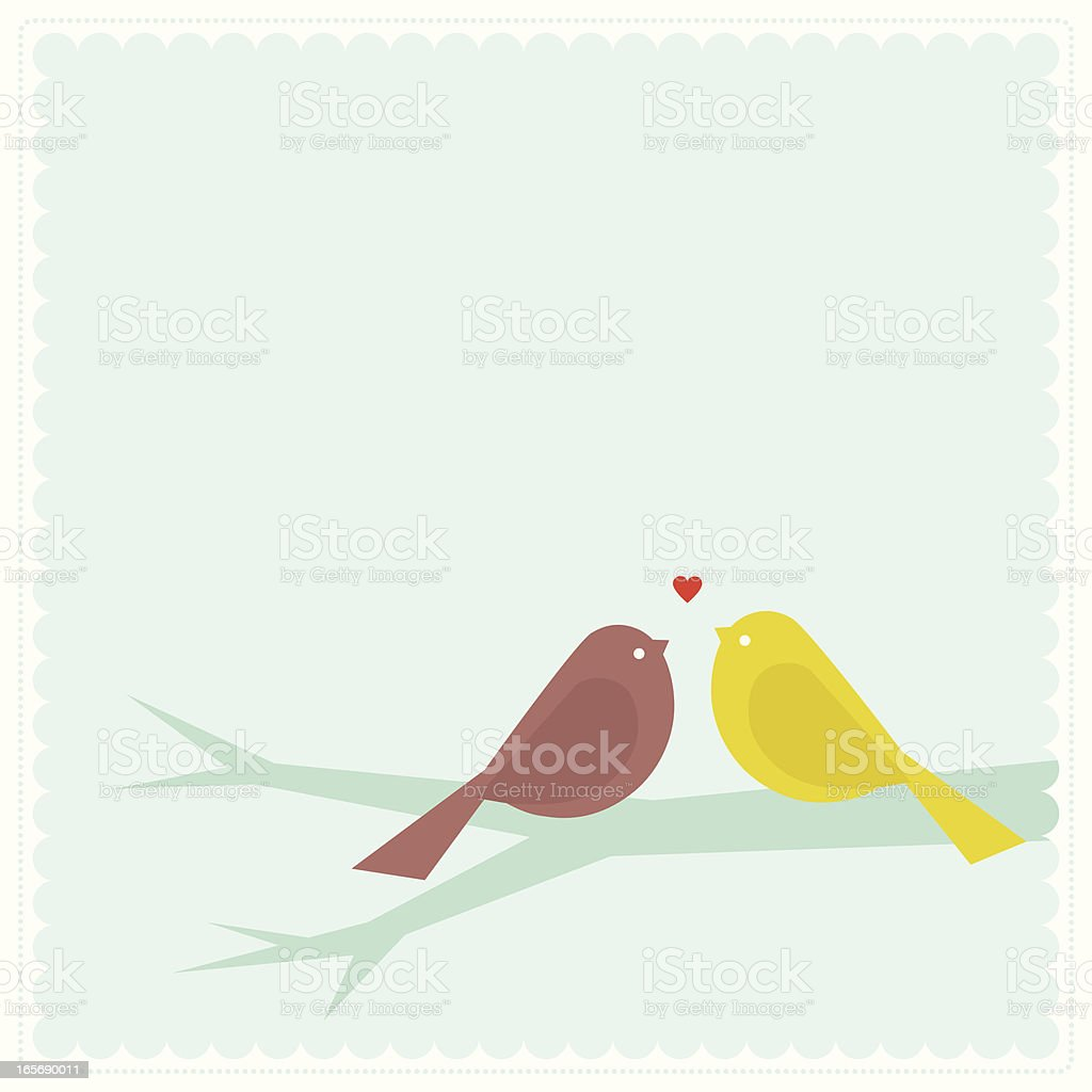 Love Birds Stamp vector art illustration