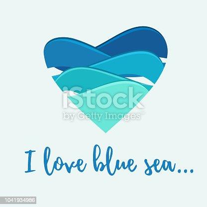 I love blue sea. Vector design concept. Vector illustration