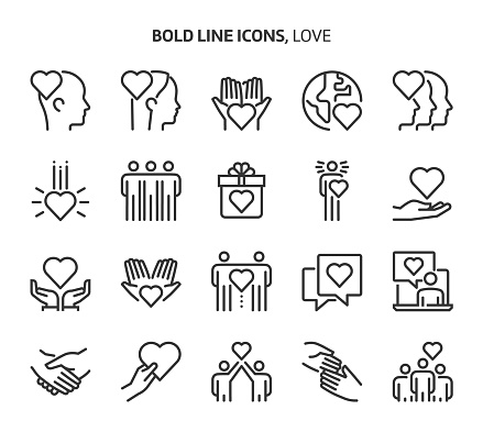Love, bold line icons