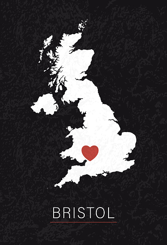 Love Bristol Picture. Map of United Kingdom with Heart as City Point. Vector Stock Illustration