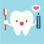 Vector illustration of happy tooth with toothbrush and toothpaste.