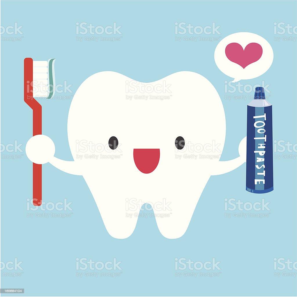 I Love Brushing My Teeth vector art illustration