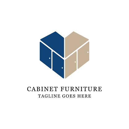 love cabinet furniture logo design, perfect for lovely business and store logo vector illustration