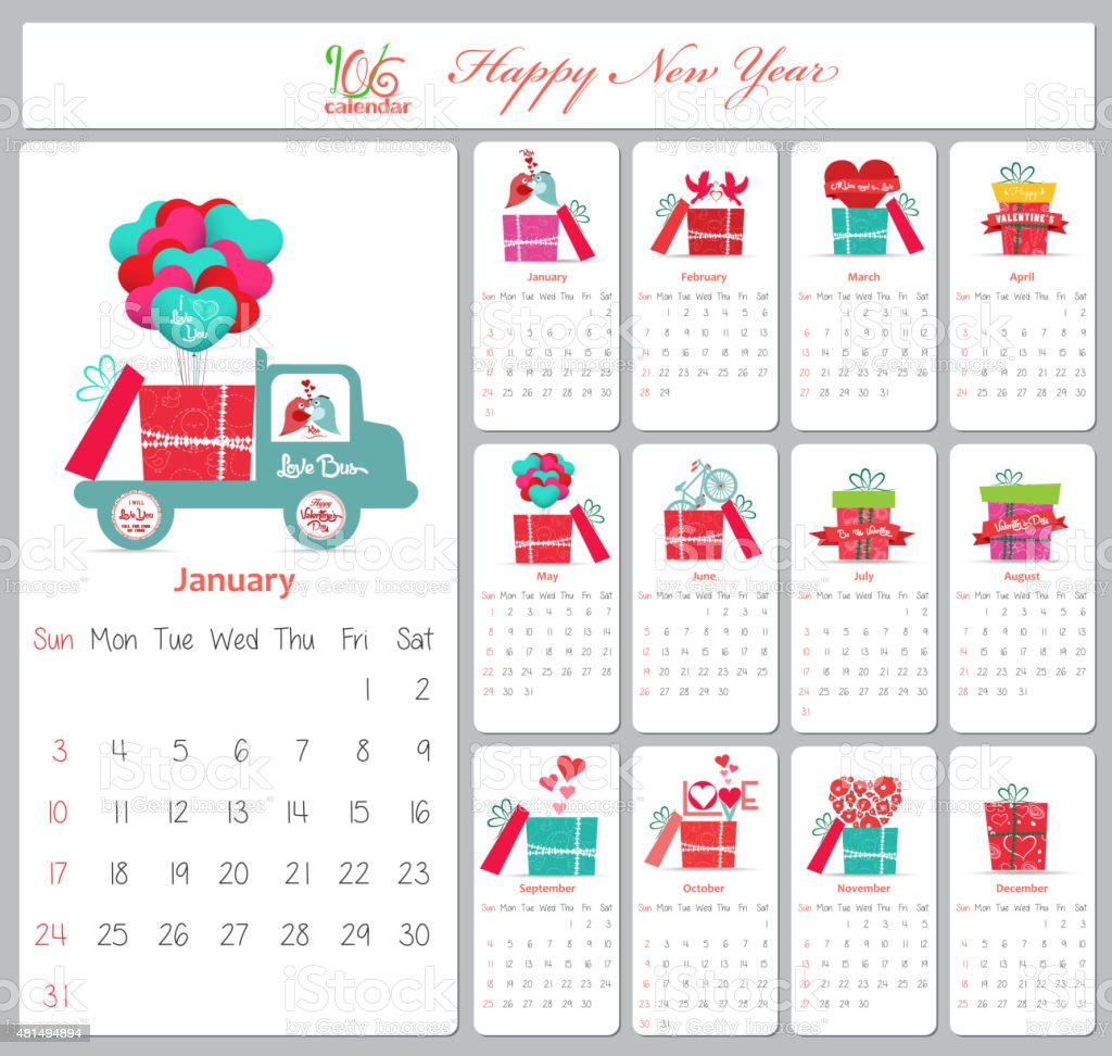 Love Calendar For 2016 With Gifts Stock Vector Art & More Images of