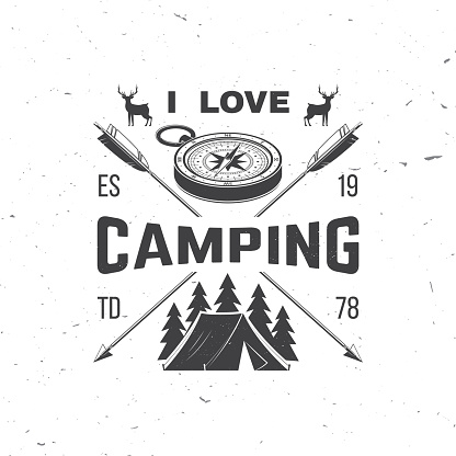I love camping. Camping quote. Vector illustration Concept for shirt or symbol, print, stamp or tee. Vintage typography design with 3d compass, tent and forest silhouette. Summer camp.