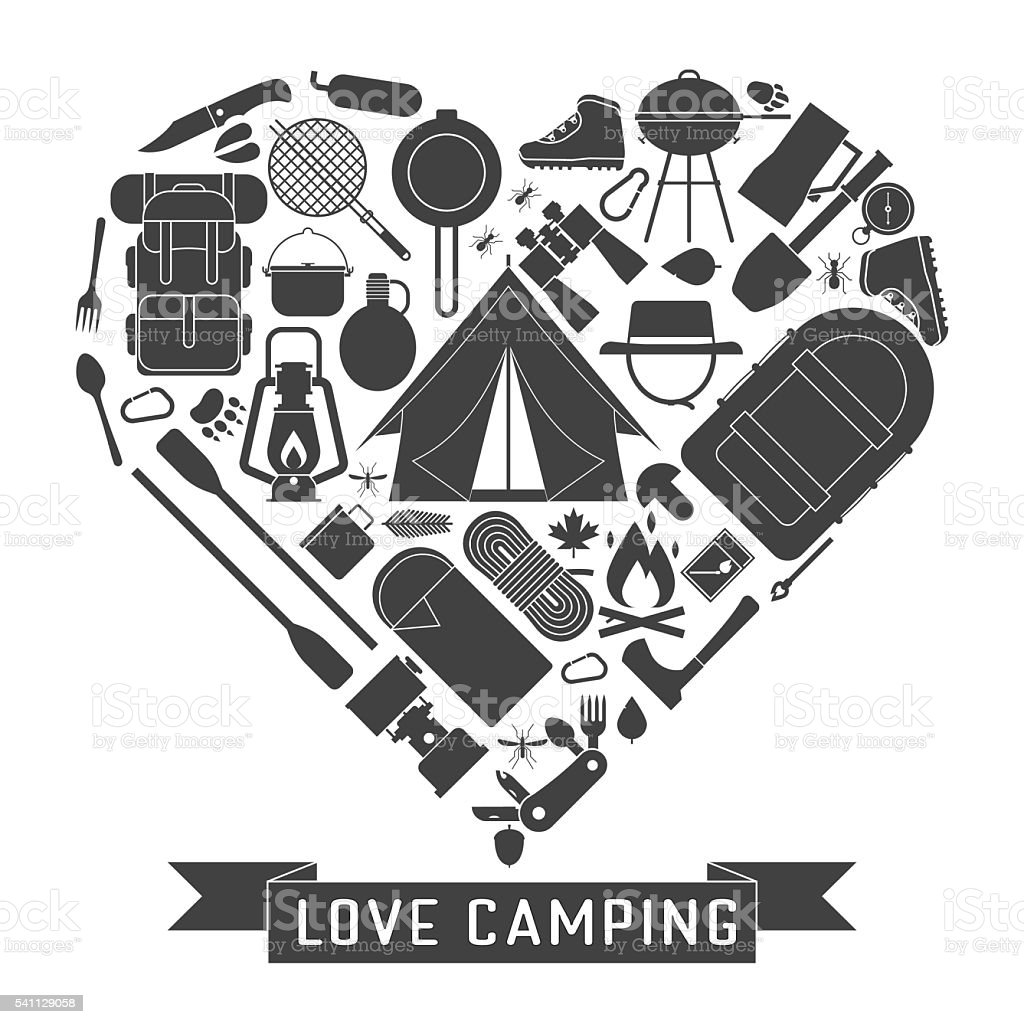 Camp outline icons in heart shape. Love camping concept with vector...