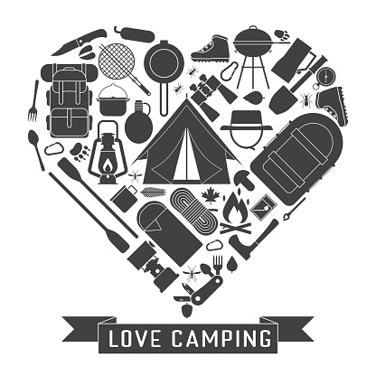 Download Love Camping Outline Concept Heart Stock Illustration ...