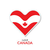 Love Canada emblem with heart in national flag color stock illustration