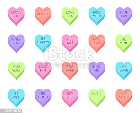 Love candy hearts. Valentines day treats, sweet heart candies and romantic love traditional sweets. Holiday lovely heart shaped sweetmeats vector isolated illustration set. Flat icons. Sticker bundle