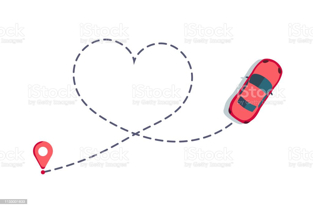 Love car route. Romantic travel, heart dashed line trace and routes....