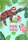 Love card. Flamingo and sloth with a bouquet. Tropical vector illustration.