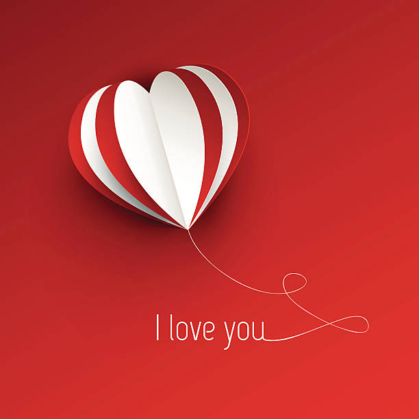 love card valentine's day card concept with three dimentional heart shape boyfriend stock illustrations