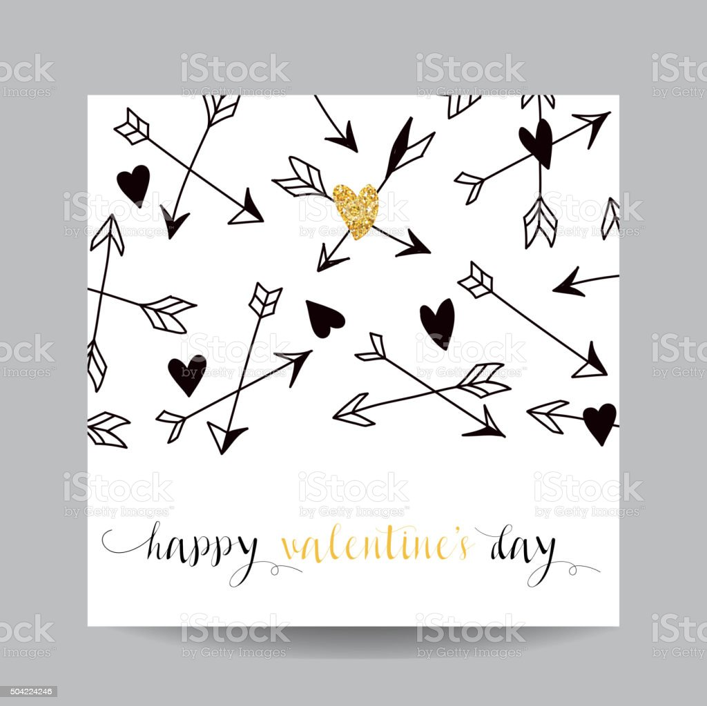 Liebe Karte Mit Pfeilenhochzeit Valentinstag Einladung Stock Vektor