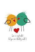 Love greeting card with cute couple of birds. Funny poster or card for birthday, save the day, wedding, Valentine's day, anniversary or just for sharing the feelings.