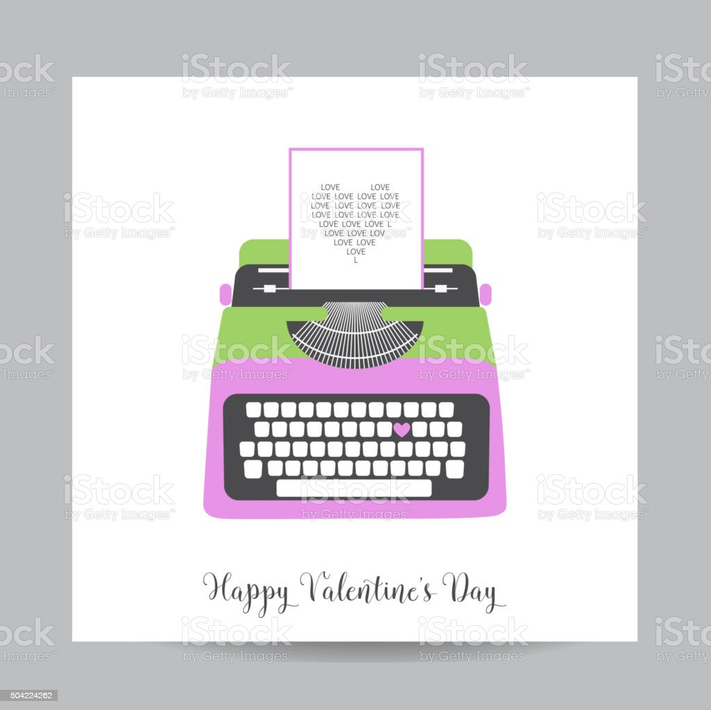 Love card with typewriter wedding valentines day invitation stock love card with typewriter wedding valentines day invitation royalty free stock vector stopboris Image collections