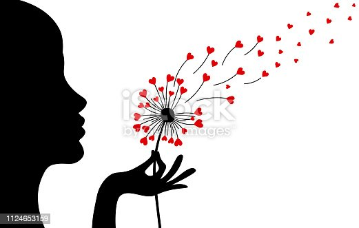 love card Woman. blowing a dandelion