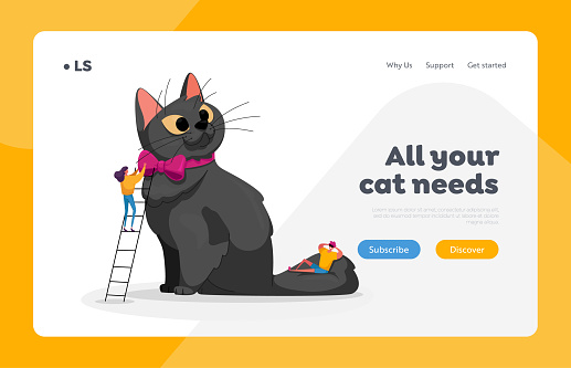Love, Care of Animals Landing Page Template. People Caress of Pet. Characters Caring of Huge Cat. Leisure, Communication